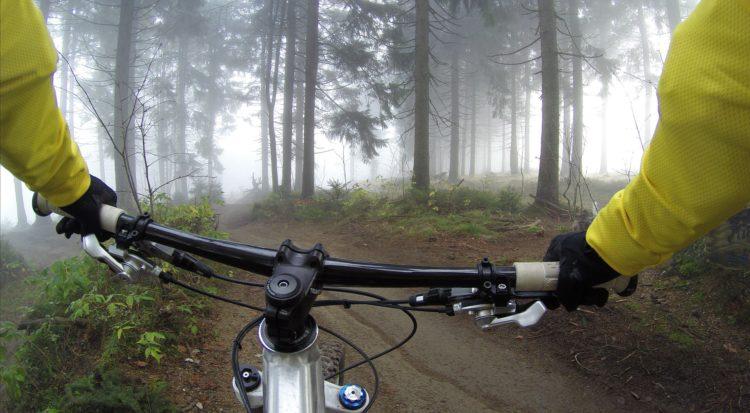 montando en bici por la naturaleza